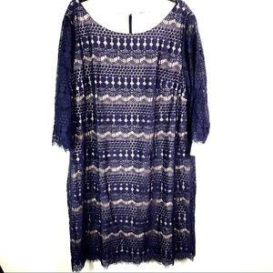 Eliza J blue lace lined formal dress NWT